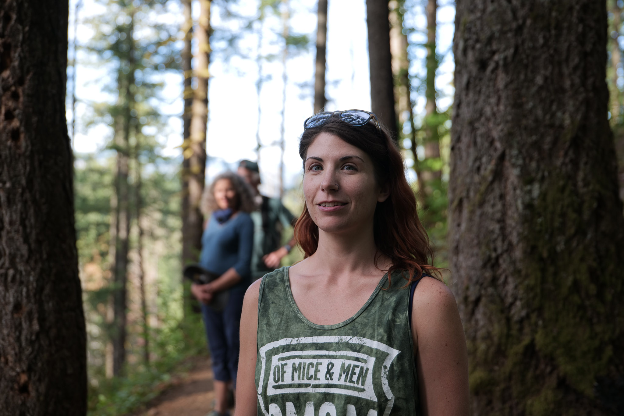 Portrait of woman in the woods, shot with eye-detection autofocus on the Panasonic Lumix S5